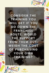 If you decide to do your own training independently, what would it cost you as opposed to doing it as part of the introduction to a franchise?