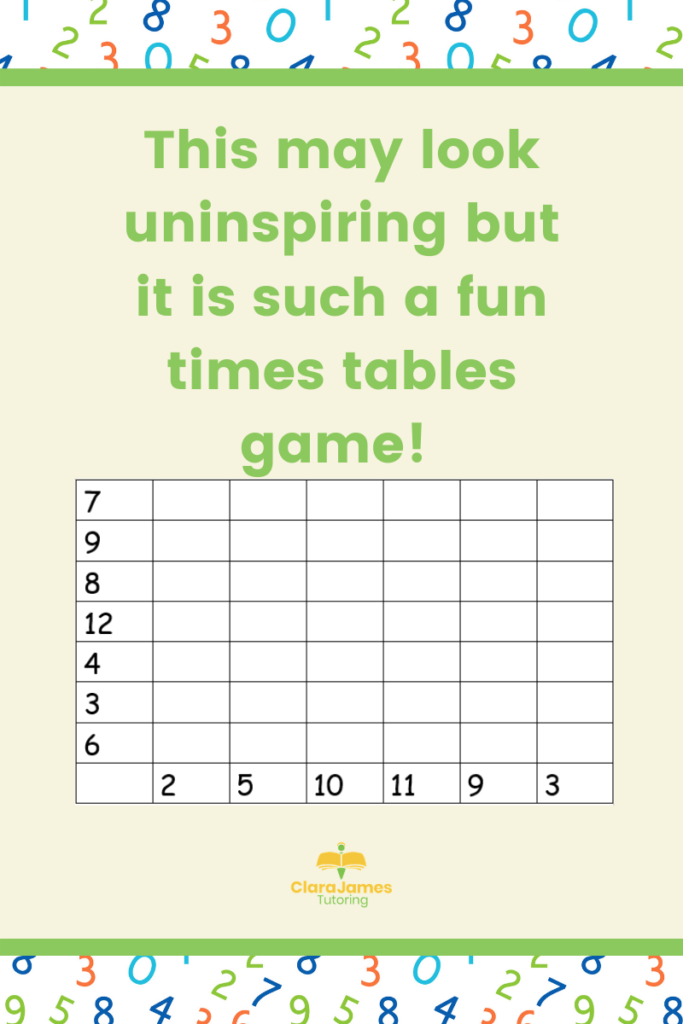 Game for reinforcing times tables learning