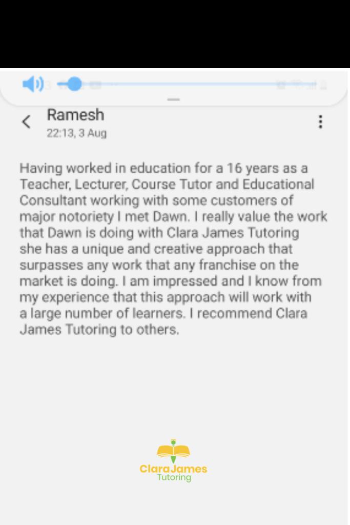 Feedback for Clara James Tutoring from Ramesh